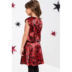 Παιδικά - Εμπριμέ βελούδινο φόρεμα με εφέ 2 σε 1
