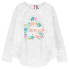 Μακρυμάνικη μπλούζα ζέρσεϊ με φλοράλ μοτίβο και βολάν
