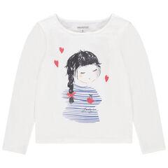 Μακρυμάνικη μπλούζα με στάμπα ένα κοριτσάκι και καρδούλες με παγιέτες