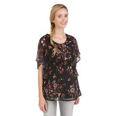 Μπλούζα εγκυμοσύνης από βουάλ με φόδρα και τυπωμένα λουλούδια