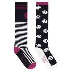 Σετ 2 ζευγάρια ψηλές κάλτσες με ζακάρ ρίγες και μοτίβο ©Smiley