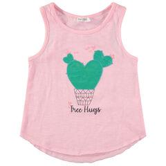 Αμάνικη ροζ μπλούζα με τύπωμα μήνυμα και κάκτο
