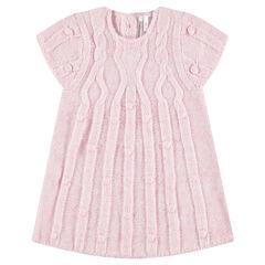 Πλεκτό κοντομάνικο φόρεμα με διακοσμητικές πλέξεις