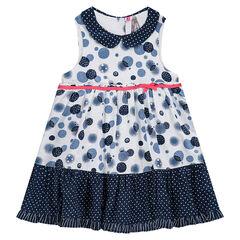 Φόρεμα αμάνικο με βούλες σε όλη την επιφάνεια, στρογγυλό γιακαδάκι και πουά βολάν