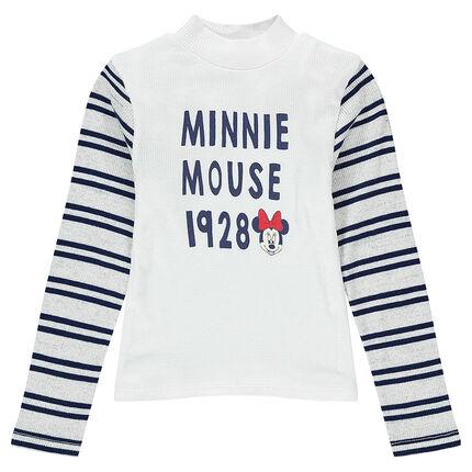 Sous-pull à côtes et col montant avec rayures et print Disney Minnie