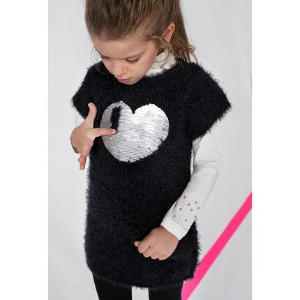 Robe manches courtes en tricot poil avec coeur en sequins magiques