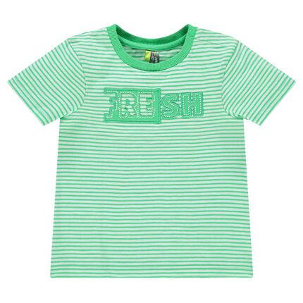 Κοντομάνικη ριγέ μπλούζα με ραμμένη φράση