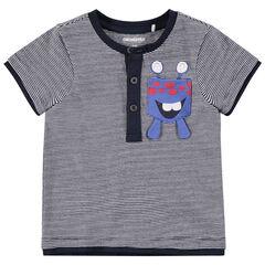 Κοντομάνικη ριγέ μπλούζα με τυπωμένο τερατάκι