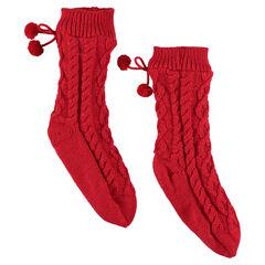 Chaussettes à jeu de mailles torsadées doublées sherpa