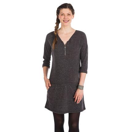 Robe manches longues de grossesse avec zip et finitions fil argenté