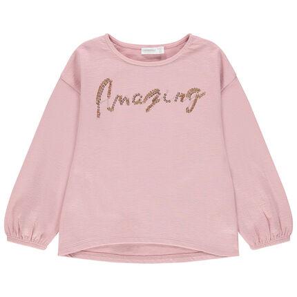 Ροζ φούτερ με φράση από χρυσαφί πούλιες και μανίκια μπαλούν