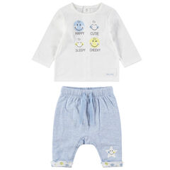 Σύνολο μπλούζα με στάμπα ©Smiley και μελανζέ παντελόνι με τυπωμένο αστέρι