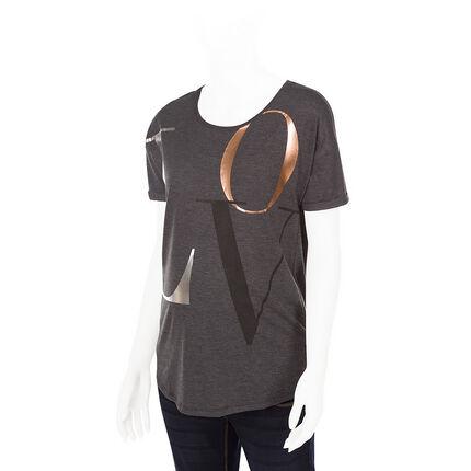 Κοντομάνικη μπλούζα εγκυμοσύνης με τυπωμένα γράμματα