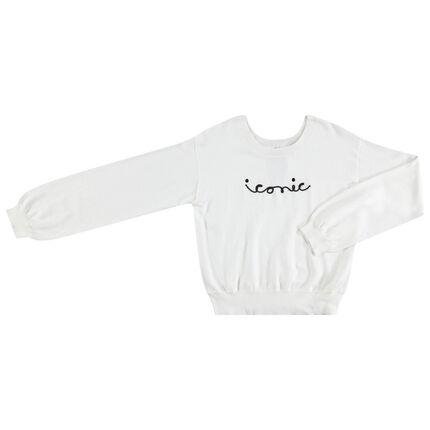 Παιδικά - Πλεκτό πουλόβερ με γράμματα από κορδόνι και φιόγκο πίσω