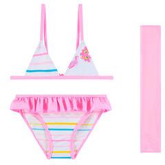 Μπικίνι με ρίγες και ροζ παρεό
