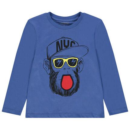 T-shirt manches longues en jersey avec singe à lunettes printé