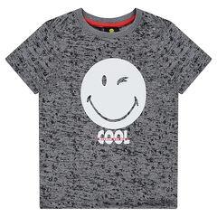 Κοντομάνικη μπλούζα από ζέρσεϊ μελανζέ με στάμπα ©Smiley