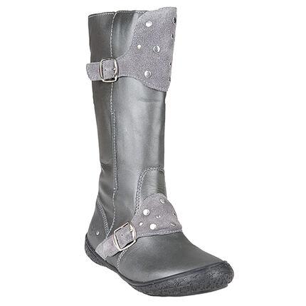 Δερμάτινες γκρι μπότες με αγκράφες και πριτσίνια