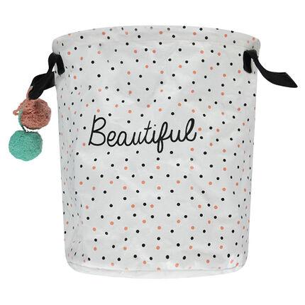 Εμπριμέ τσάντα με πουά μοτίβο και φουντίτσες