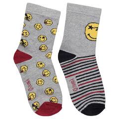 Σετ με 2 ζευγάρια ασορτί κάλτσες με ζακάρ ©Smiley