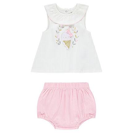 Σύνολο αμάνικη μπλούζα με στάμπα και ασορτί ροζ φουφούλα