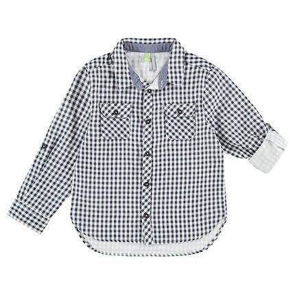 Μακρυμάνικο πουκάμισο με μικρό καρό και τσέπες