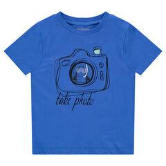 Κοντομάνικη μπλούζα ζέρσεϊ με τυπωμένη φωτογραφική μηχανή