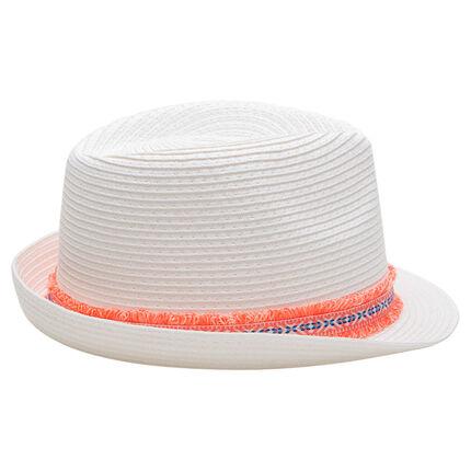 Καπέλο τύπου μπορσαλίνο με όψη ψάθας και έθνικ σιρίτι