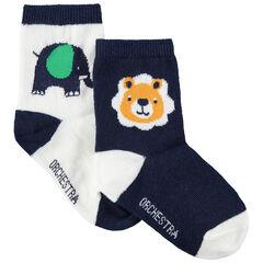 Σετ 2 ζευγάρια ασορτί κάλτσες με ζακάρ μοτίβο ζώα της ζούγκλας