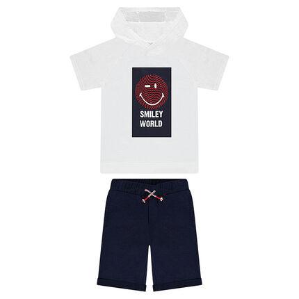 Παιδικά - Σύνολο μπλούζα με κουκούλα ©Smiley και βαμβακερή βερμούδα