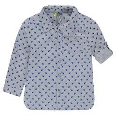 Μακρυμάνικο βαμβακερό πουκάμισο με ελικόπτερα σε όλη την επιφάνεια