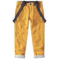 Κοτλέ παντελόνι με ζέρσεϊ επένδυση και αφαιρούμενες τιράντες