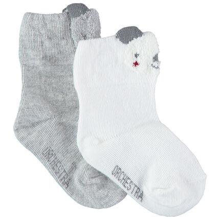 Σετ 2 ζευγάρια λευκές / γκρι κάλτσες με μοτίβο κοάλα