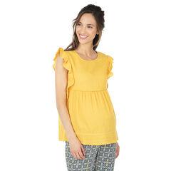 Κίτρινο μπλουζάκι εγκυμοσύνης με κοντά μανίκια με βολάν