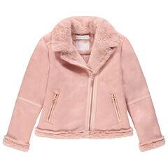 Μπουφάν perfecto σε απαλό ροζ με σουέτ υφή και επένδυση sherpa
