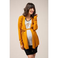 Πλεκτή κίτρινη ζακέτα εγκυμοσύνης χωρίς κούμπωμα
