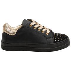Αθλητικά παπούτσια από συνθετικό δέρμα με φαντεζί στρας και χρυσαφί κορδόνια