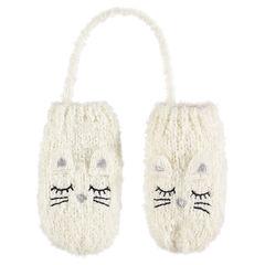 Απαλά εκρού πλεκτά γάντια με ενιαία παλάμη, ανάγλυφα αυτάκια και κεντημένες λεπτομέρειες