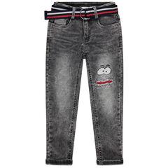 Παντελόνι από φανέλα με όψη used ντένιμ και ριγέ ρυθμιζόμενη ζώνη