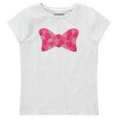 Κοντομάνικη μπλούζα με διακοσμητική στάμπα και ανάγλυφες λεπτομέρειες