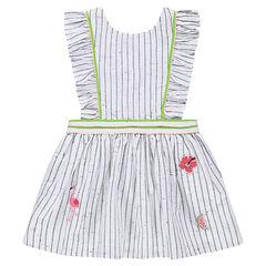 Ριγέ φόρμα από βαμβάκι μπουκλέ με σήματα και σταυρωτές τιράντες