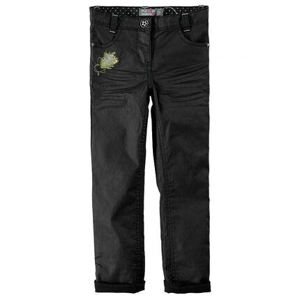 Βαμβακερό παντελόνι με γυαλιστερή όψη και κέντημα
