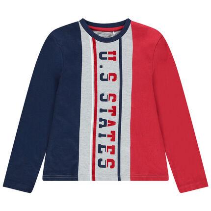Παιδικά - Τρίχρωμη μακρυμάνικη μπλούζα με στάμπα σε κολεγιακό στυλ
