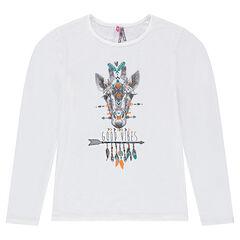 Παιδικά - Μακρυμάνικη μπλούζα ζέρσεϊ με τυπωμένη καμηλοπάρδαλη