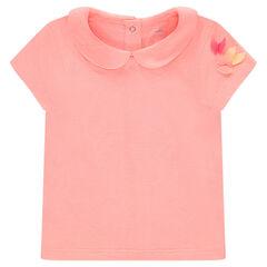 Μονόχρωμη κοντομάνικη μπλούζα ζέρσεϊ με στρογγυλό γιακά