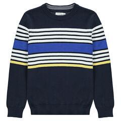 Παιδικά - Πλεκτό πουλόβερ με ζακάρ λωρίδες σε αντίθεση