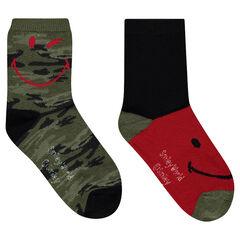 Σετ 2 ζευγάρια ασορτί κάλτσες με μιλιτέρ μοτίβο ©Smiley