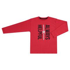 Μακρυμάνικη κόκκινη μπλούζα με τυπωμένο κείμενο