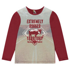 Παιδικά - Μακρυμάνικη μπλούζα μονόχρωμη με τυπωμένο τοπίο