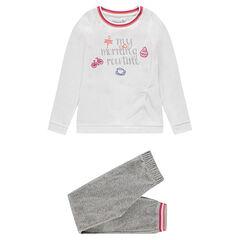Παιδικά - Βελουτέ πιτζάμα με τυπωμένη φράση και κεντήματα